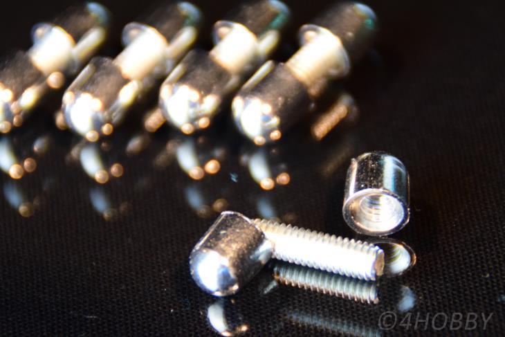 5 Schrauben Gewindestift+Kappen verchromt Zierschrauben Metall Chrom Glas Halter